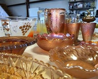 Vintage Glass,  Crackle Glass in Amber