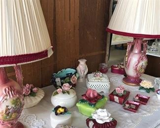 Vintage Hand Painted Lamps, Porcelain Hand Painted Limoges and Jewelry Boxes