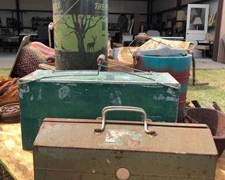 Antique Cooler, Vintage Tool Boxes