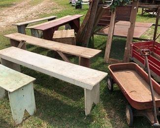 Wooden Benches, Vintage Children's Wagons