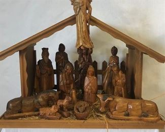 Hand Carved Wood Nativity