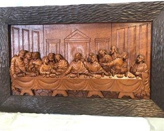 Original Art - Wood Carving Last Supper by Jose Pinal