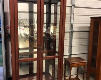 Wood & Glass China/Curio Cabinet Glass Shelves and Lighted