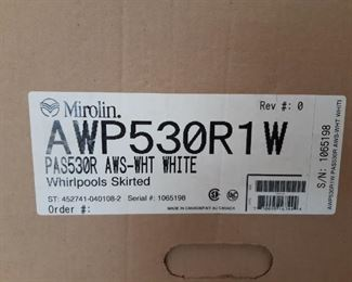 New in box white and Cole Whirlpool skirted tub MIROLIN