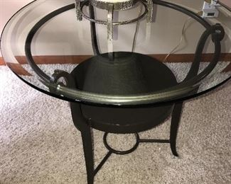 ROUND GLASS TOP COFFEE SIDE TABLE
