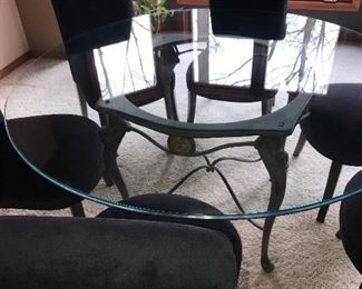 7 PC DINING SET W/ GLASS TABLE TOP & 6 UPHOLSTERED CHAIRS