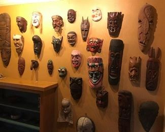Wall of masks (not all will be for sale)