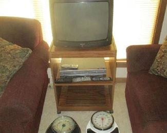 Television, television stand and scales