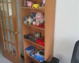 Bookshelf and household items