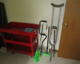 Metal cart and crutches