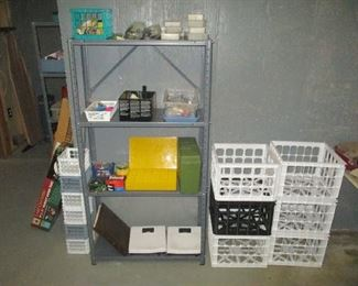 Metal shelving and crates