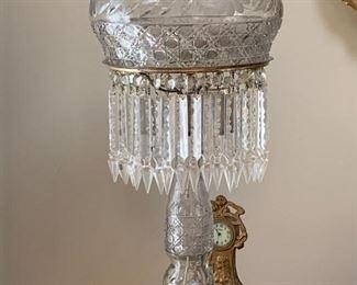 LARGE CUT GLASS LAMP