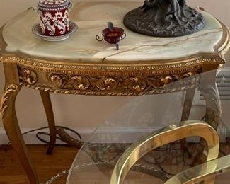 ANTIQUE GOLD LEAF AND ONYX CENTER TABLE