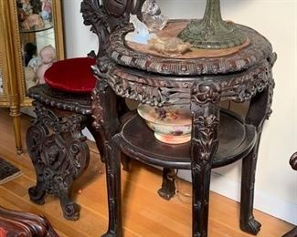 LARGE ANTIQUE TEAKWOOD AND MARBLE TABLE
