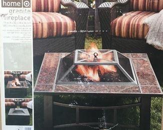 granite outdoor fireplace