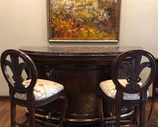 Marble top, free standing bar & chairs