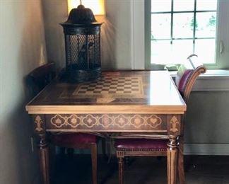 Amazing RENZO ROMAGNOLI Italian Inlaid wood game table & chairs