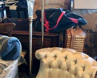 Satin Chesterfield Slipper chair