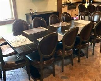 Restoration Hardware Farmhouse table & 12 leather chairs - Reclaimed Wood Trestle table collection - ONLY 2 YEARS OLD