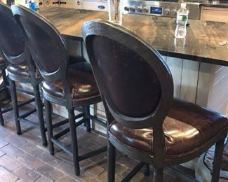 SIX leather counter height bar chairs