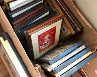 Lots of smaller framed prints