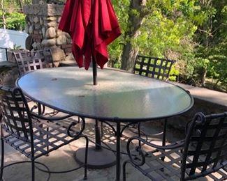 Iron & glass patio set & bar cart