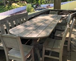 Teak wood patio table with bench