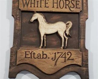 White Horse Cellars Scotch Whiskey wood sign.