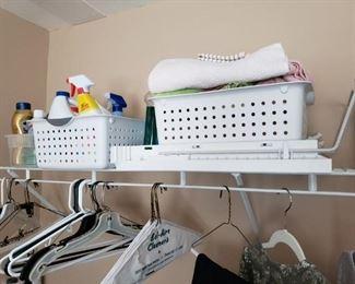 Storage bins, cleaning supplies.