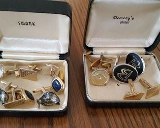 Assortment of men's cuff links, tie tacks, pins and more!