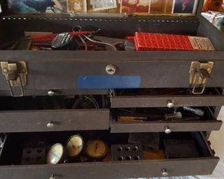 Machinist tool box chock full of tools & gauges