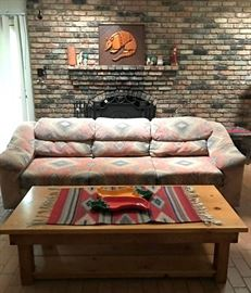 Southwest style couch, and Santa Fe Southwest coffee table