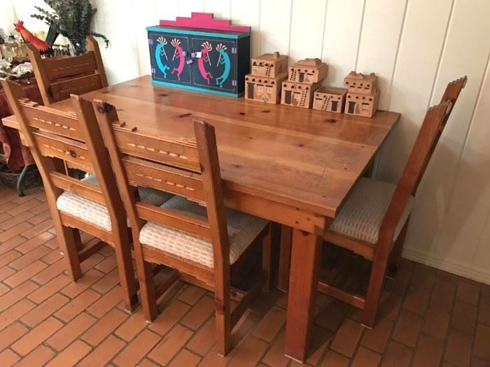 Santa Fe Southwest dining table with 4 chairs set