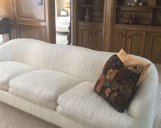 pair Weiman white sofas