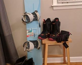 Palmer Snowboard.  Women's board boots, Size 11 never used (on stool, with new North Face gloves) Women's board boots, Size 10, used