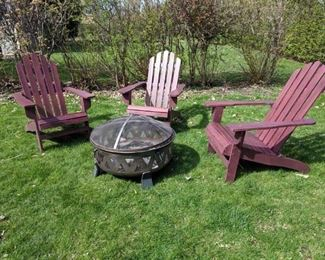 Solid wood Adirondack chairs and firepit.  Mmm S'mores.