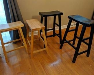 Stools, bar height and counter height.