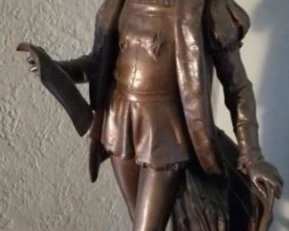 """24"""" Bronze statue of """"Raphael Sanzio"""" by Eugene Aizelin (1821-1927) reduced by F. Barbedienne Foundeur Paris"""