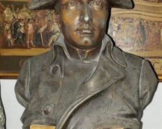 """19th Century Napoleon bronze bust on marble base by Rafael Nannini. It is 17 inches tall (12"""" bronze and 5""""base)"""