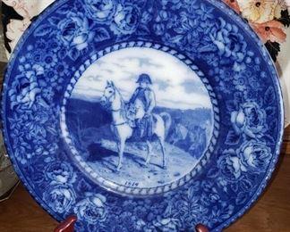 "Flow Blue Plate with Napoleon on Horseback.  10""  Dia. marked F&V.I Staffordshire England"