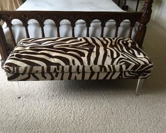 Real Zebra Hide Bench with lucite legs