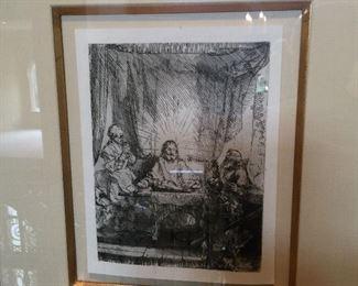 Rembrandt Etching Supper At Emmaus
