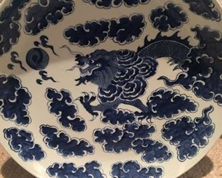 Blue and White Ceramic Platter with Dragon Motif