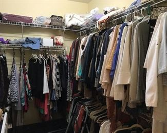 Lot and Lots of very nice name brands Ladies Clothes, Shoes,Purses,Shoes, Boots, Belts,Scarfs ETC..........                                     Various sizes mostly Ladies