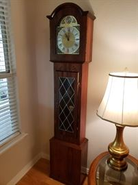 Unique Danish Grandfather Clock- Solid Rosewood and Stained Glass Door