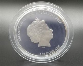"""Cook Islands Romanov Dynasty Commemorative coin, 1kg Silver (.999), 2013, 120mm in diameter, """"proof quality"""", Face value $100, 400 pieces minted, still in seal although seal appears to have cracked because there is a small amount of tarnish around the edges"""