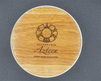 Aztec Calendar Coin 2011 - .999 fine silver, 110mm diameter, 1kg weight, flat edge (No. 0328) - this is the case
