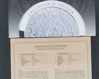 Aztec Calendar Coin 2011 - .999 fine silver, 110mm diameter, 1kg weight, flat edge (No. 0328) - paperwork included