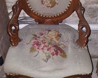Needlepoint Cushioned Chair