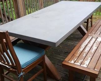 Cement Topped Picnic Table & Benches